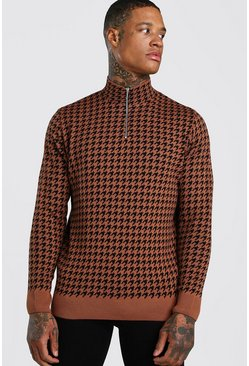 Rust Half Zip Houndstooth Knitted Jumper