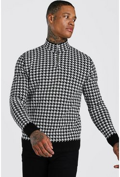 Black Half Zip Houndstooth Knitted Jumper