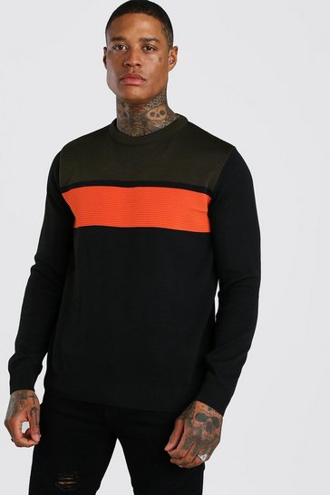 Khaki Colour Block Crew Neck Jumper