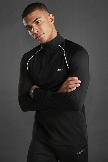Black MAN Active Funnel Neck Top With Piping Detail
