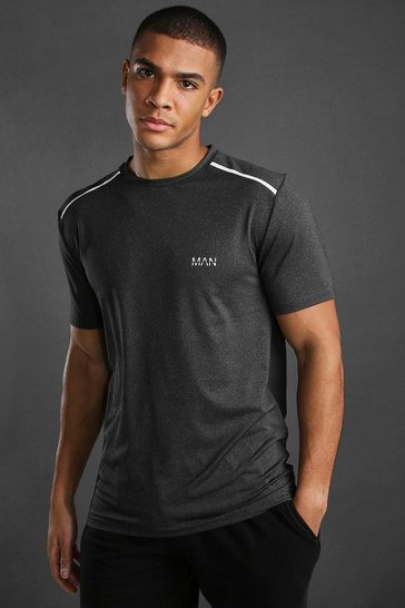 Black MAN Active Marl T-Shirt With Reflective Detail