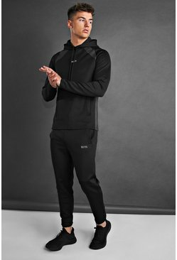 Black MAN Active Tracksuit With Panel Detail