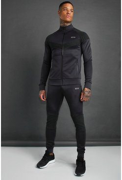 Charcoal MAN Active Skinny Rib Panel Tracksuit