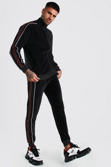 Black Loose Fit Velour Zip Tracksuit With MAN Tape
