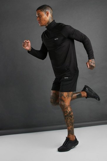 Black MAN Active Funnel Neck Short Set With Zips