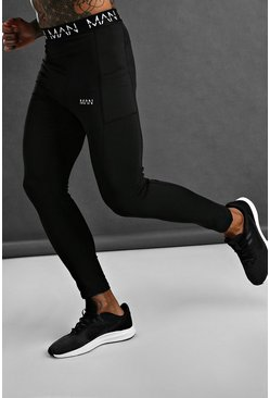 Black MAN Active Tights With Waistband And Pocket Detail