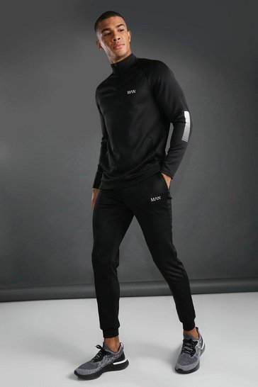 Black MAN Active Funnel Neck Tracksuit With Reflective