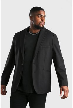 Blazer de punto Big & Tall, Negro