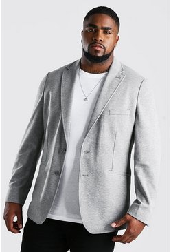 Grey Big & Tall Jersey Blazer