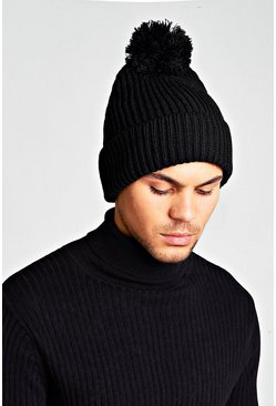 Loose Knit Bobble Beanie, Black