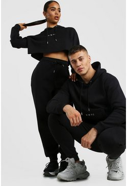 Black Her Embroidered Crop Hoodie Tracksuit