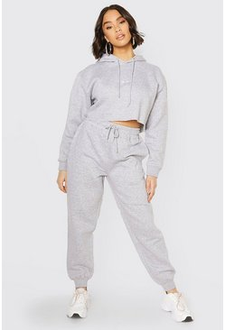 Grey marl Her Embroidered Crop Hoodie Tracksuit