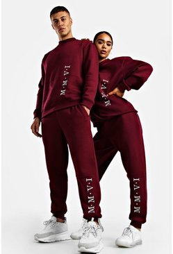 Dark pink Her Embroidered Sweat Tracksuit
