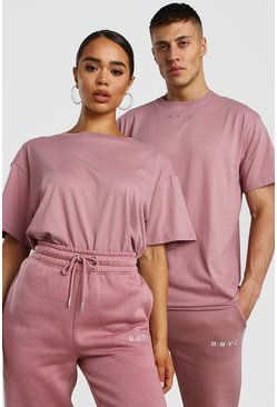 Dusky pink Her Raw Edge Embroidered T-Shirt