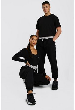 Black Her Loose Fit Jogger With Contrast Waistband