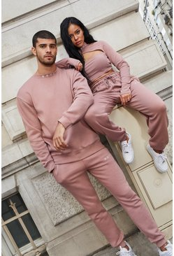 Dusky pink Her Cut Out Sweat And Jogger Set