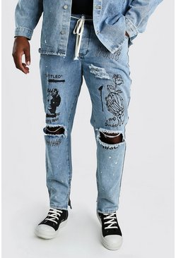 Big And Tall Graffiti Print Skinny Jean, Pale wash