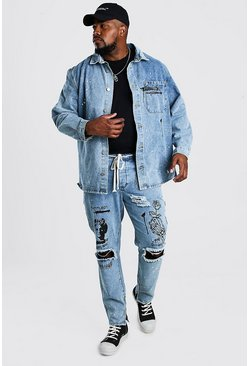 Big And Tall Denim Graffiti Print Overshirt, Pale wash