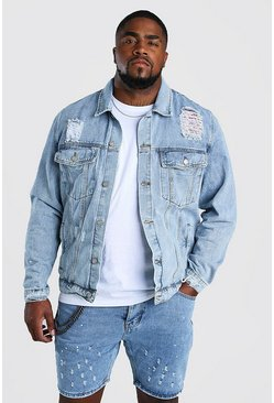Big And Tall Rip And Repair Denim Jacket, Pale wash