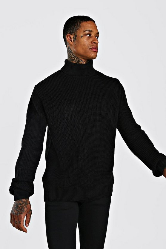 Black Chunky Roll Neck Jumper