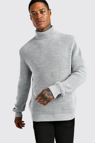 Silver Chunky Roll Neck Jumper