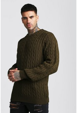 Mens Khaki Crew Neck Cable Knitted Jumper