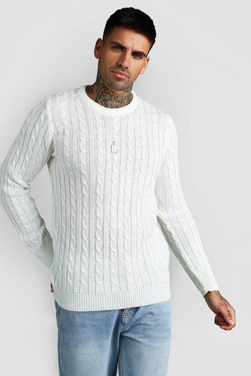 Cream Crew Neck Cable Knitted Jumper