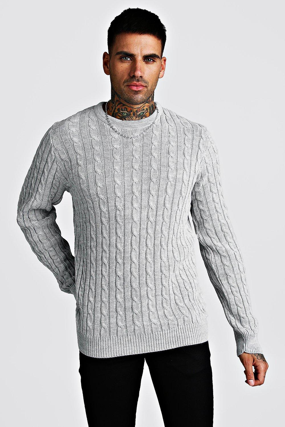 Crew Neck Cable Knitted Jumper | boohoo