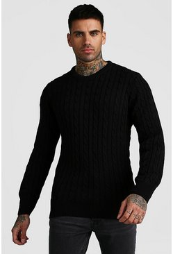Herr Black Crew Neck Cable Knitted Jumper