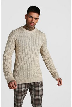 Herr Stone Crew Neck Cable Knitted Jumper