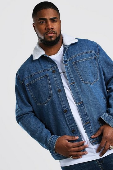 Mid blue Big And Tall Borg Collar Denim Jacket