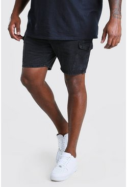 Washed black Big And Tall Slim Cargo Denim Short