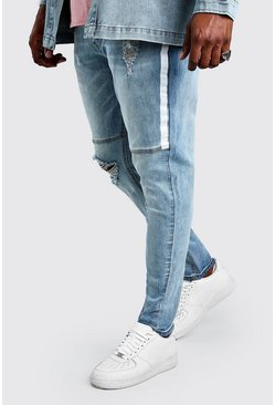 Big & Tall Skinny Jeans mit Spray-Paint, Blassblau
