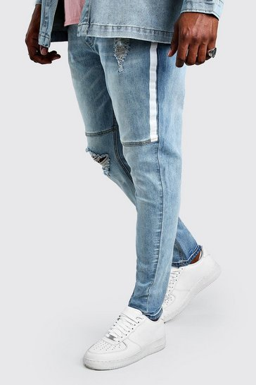 Pale blue Big And Tall Skinny Jean With Side Paint