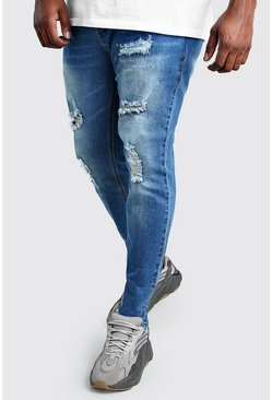Mid blue Big And Tall Skinny Jean With Paint Splatter