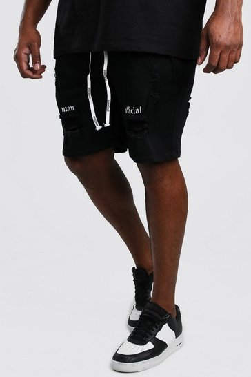 Black Big And Tall Skinny Denim Short