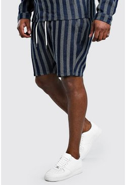 Shorts denim de jacquard Big And Tall, Azul oscuro