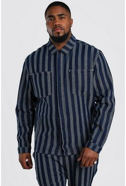 Dark blue Big And Tall Jacquard Denim Overshirt