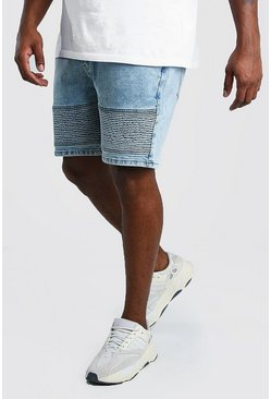 Big And Tall Skinny Biker Denim Short , Pale blue