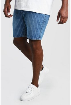 Big And Tall Slim Pinstripe Denim Short , Vintage wash
