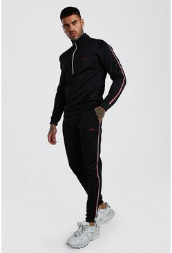 Black MAN Half Zip Poly Tracksuit With Tape