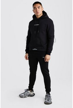 Black MAN Official Hooded Tracksuit With Contrast Panels