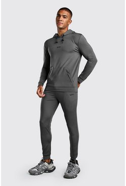 Slate MAN Muscle Fit Poly Hooded Tracksuit With Zips