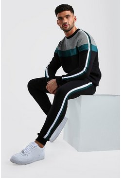 Black Jacquard Colour Block Sweater Tracksuit With Tape