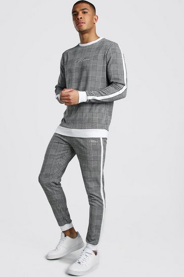Grey MAN Signature Jacquard Sweater Tracksuit With Tape