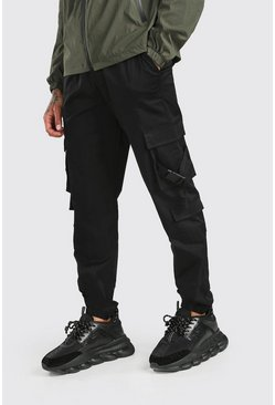 Black Twill 3D Cargo Pocket Jogger Trouser With Buckles
