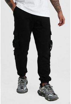 Black Multi Cargo Pocket Buckle Jogger