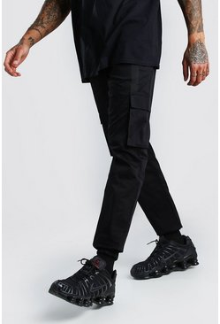 Black Twill 3D Cargo Jogger Pants With Strap Detail