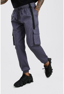 Dark grey Twill 3D Cargo Jogger Trouser With Strap Detail