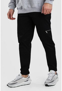Black Skinny Fit Twill Cargo Pants With Zips